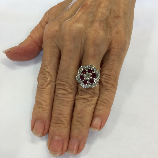 Gloria wearing her custom ring