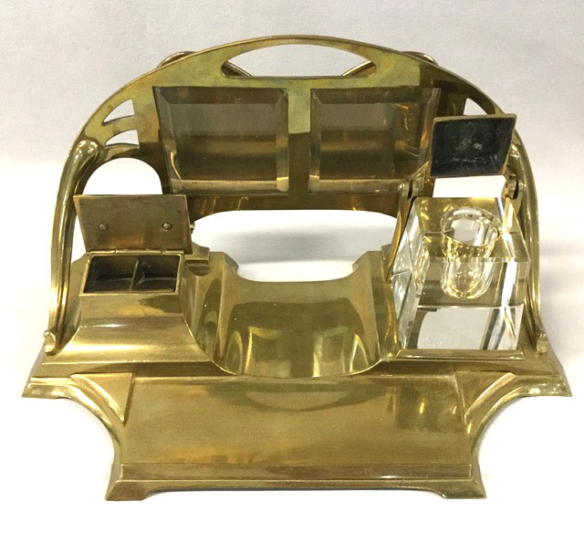 Arts Crafts Brass Inkstand Circa 1905