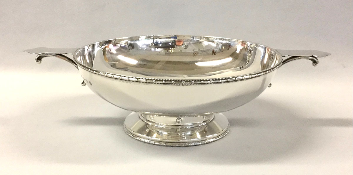 English Art Deco Sterling Silver Quaich Cup Trophy of Monumental Size