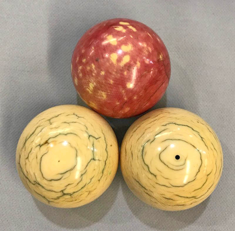 Set of Three Ivory Billiard Balls