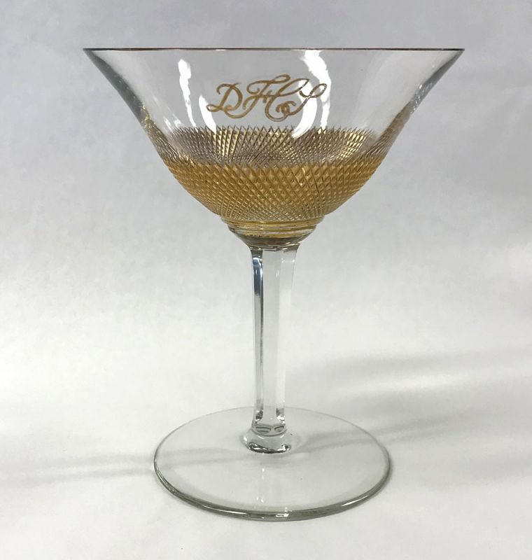 Vintage Gilded and Cut Crystal Champagne Coupes