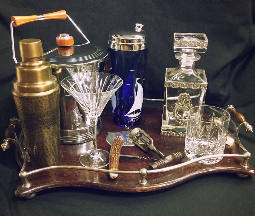 Antique-vintge-barware-display-decanter-corkscrew-ice-bucket-cocktail-shaker-crytal-glasses
