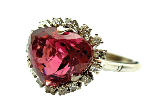 Vintage Red Tourmaline and Diamond Ring