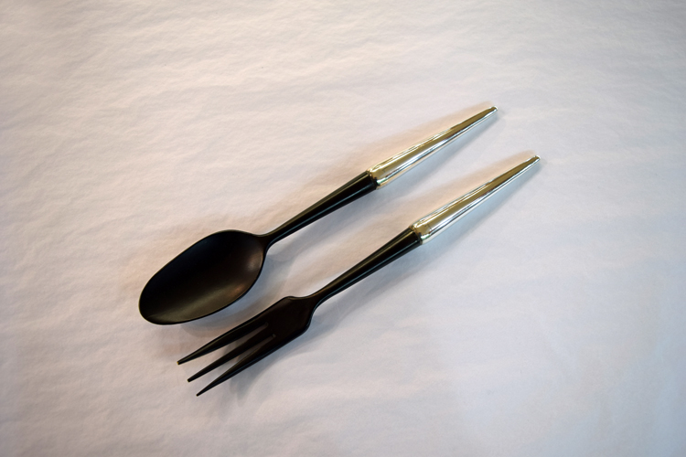 Vintage Two Piece Sterling and Ebony Salad Servers, C.1960s