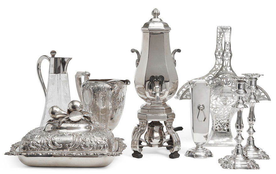 Antique Store - Decanter, Hot Water, Pot Pitcher, Candlestickes, Vases, Sterling Silver Display