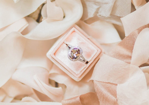 Antique, vintage inspired pink rose gold morganite engagement ring from Cynthia Findlay