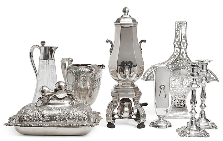 Antique Store - Decanter, Hot Water, Pot Pitcher, Candlesticks, Vases, Sterling Silver Display