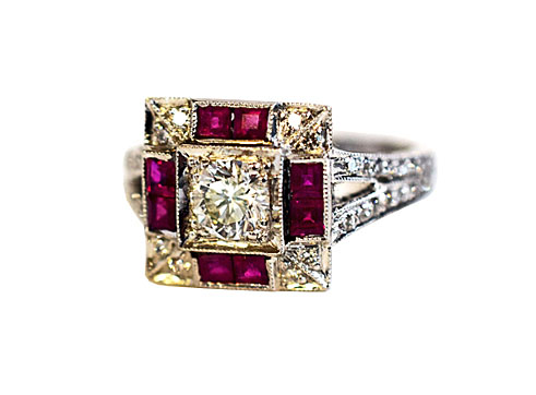 Art Deco inspired/style ruby and diamond engagement ring