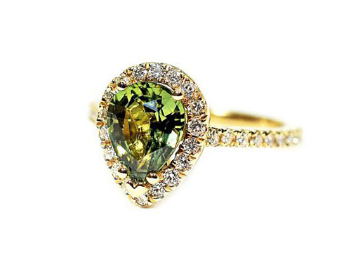 Modern Green Pear Sapphire and Diamond Ring at our Antique and Jewelry Store