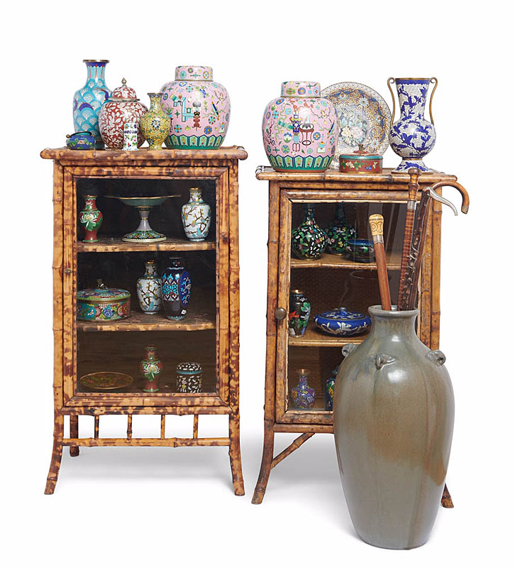 Toronto Antiques - Victorian Bamboo Vitrines, Cloisonné, Art Pottery and Canes Display