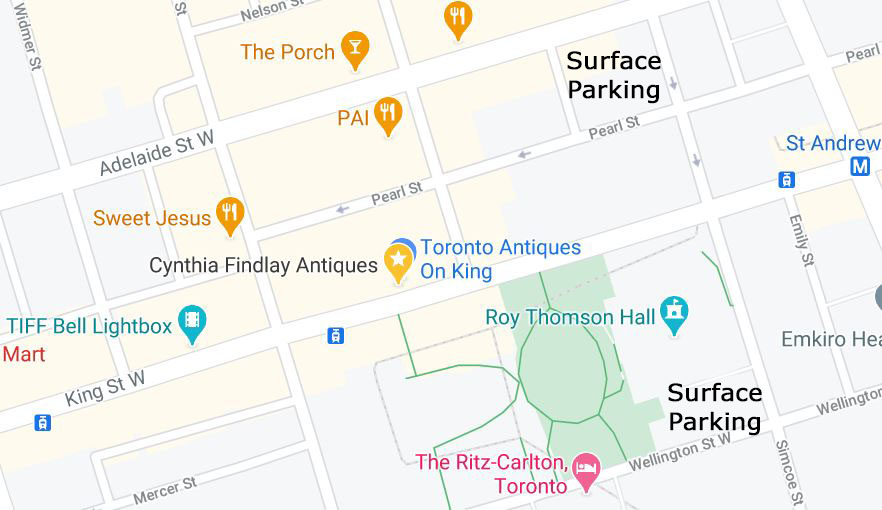 Cynthia Findlay Antiques Surface Parking Map