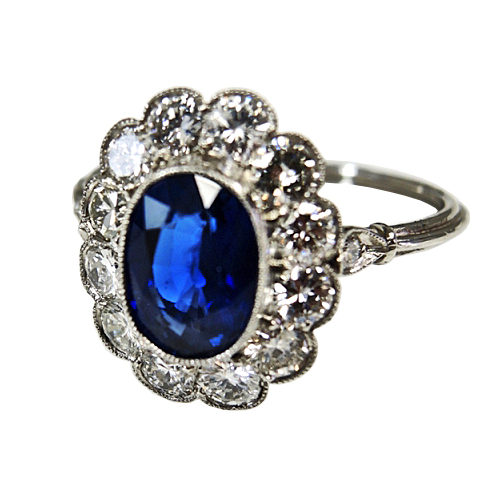 antique like sapphire and diamond ring