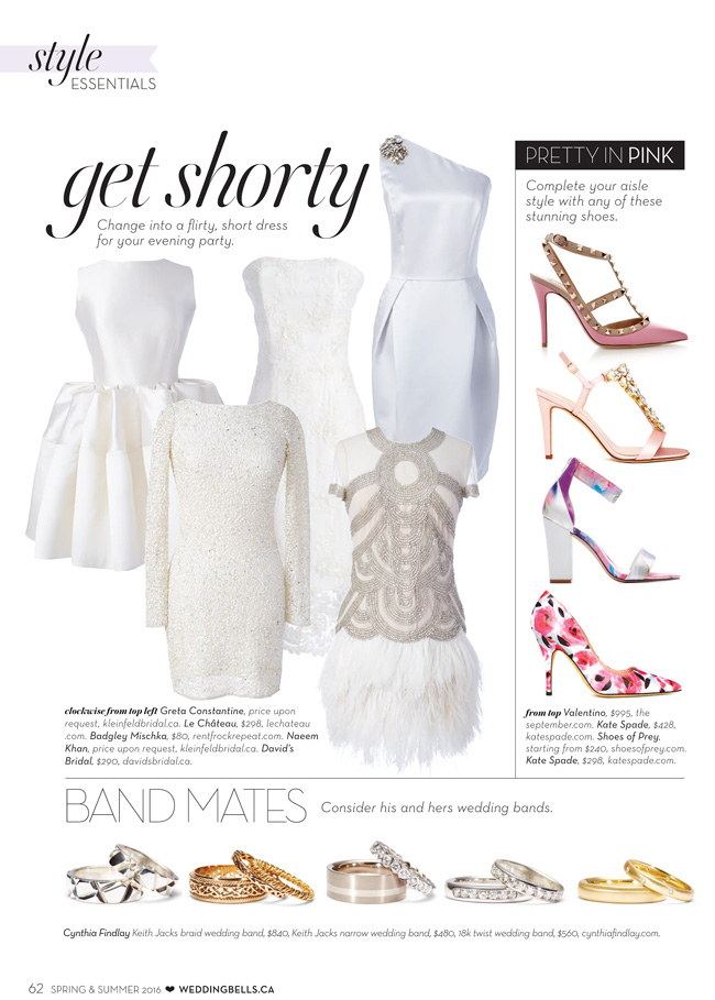 Wedding Bells style ESSENTIALS SS16 summer 2016 Cynthia Findlay Wedding Rings Feature