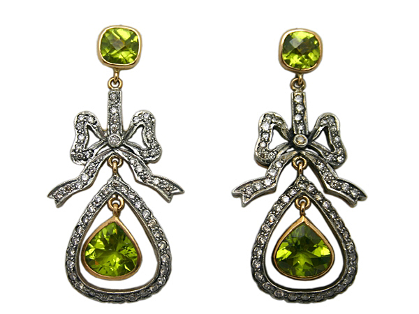 Antique Inspired Peridot Diamond Earrings