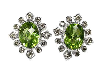 Vintage Inspired Peridot Stud Earrings
