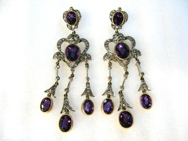 Amethyst And Diamond Chandelier Drop Earrings