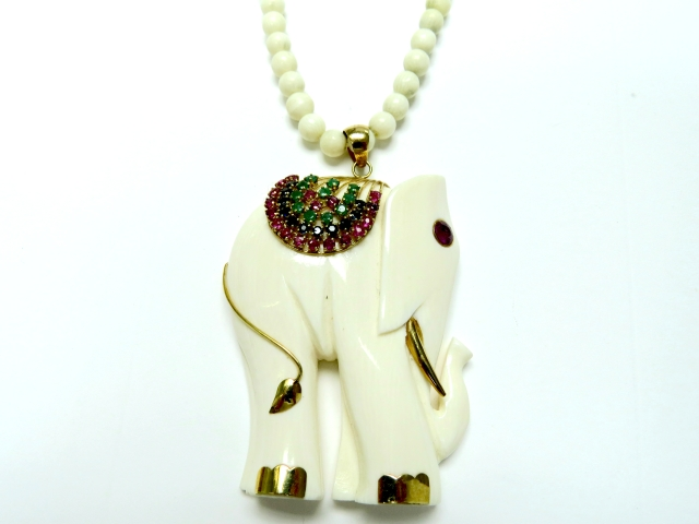 ruby ivory elephant and antique index impressive art deco necklace pendant gold with