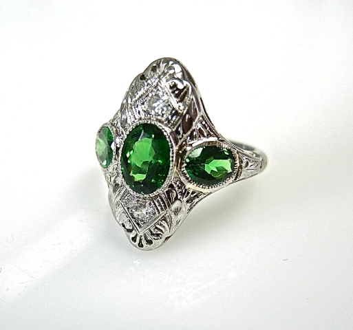 Tsavorite Garnet and Diamond Ring