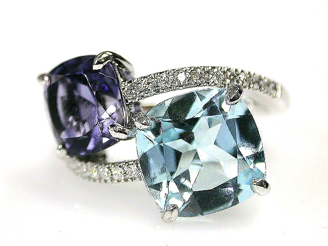 Contemporary Toi et Moi Aquamarine Iolite and Diamond Ring